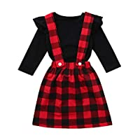 Longra® Baby 2Pcs Dress Sets,Toddler Infant Baby Girls Solid Ruffle Tops Plaid Strap Skirt Clothing Set for 1-4 Years
