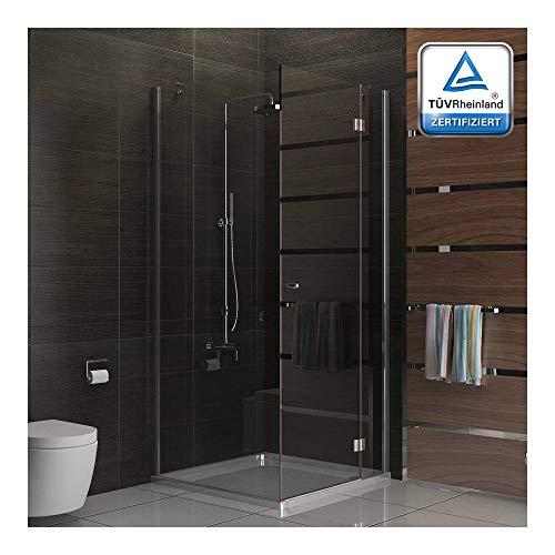 Komplette Duschkabine mit Eckeinstieg 90x90x200 cm, rahmenlose Echtglas Duschkabine mit Drehtür von Alpenberger