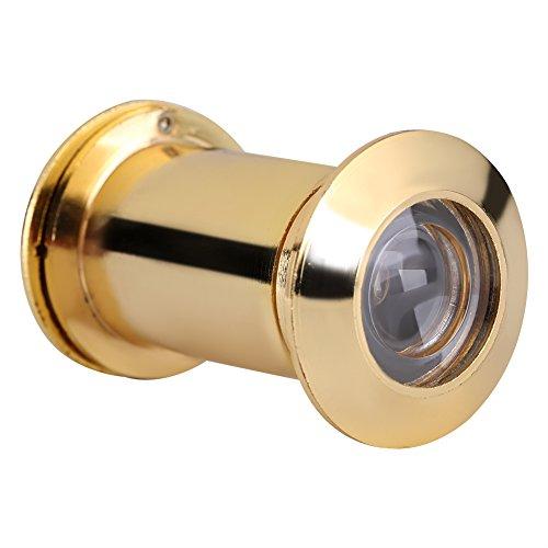 Mirilla de puerta grande con tapa de privacidad resistente en ángulo salvaje de latón macizo para oficina en casa, color bronce verde