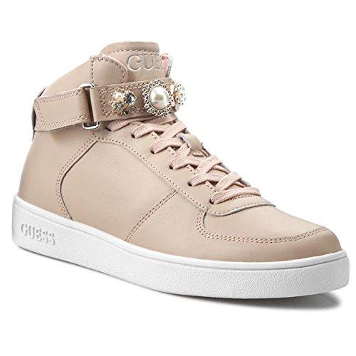 Scarpe Sneakers Alte Donna Guess Mod. Suzette FLSUT1-LEA12 Col. Beige (35).