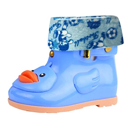 TAOtTAO Infant Kinder Kinder Baby Cartoon Ente Gummi Wasserdichte Warme Stiefel Regen Schuhe (28, Blau) -