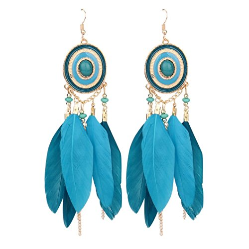 Hirolan Ohrringe Bohemian Vintage, Retro Böhmen Feder lange Design Dream Catcher Ohrringe für Frauen Schmuck Das beste Geschenk für den Muttertag Damen Ohrringe Lady Anhänger (Grün)