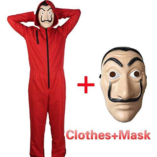 Reaper Kostüm Cosplay Soul - ZHANGXX Halloween Jumpsuit Geldes Kostüm Dali Party Dress Cosplay Kleidung Bankräuber Kostüm Roter Anzug Gesichtsmaske Karneval,Red-S