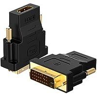 Rankie Adaptador DVI a HDMI, 1080P, Clavija HDTV Convertidor, 2 Unidades, Negro