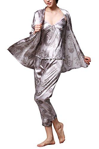 Dolamen Damen Schlafanzug, Lang Ladies Pyjamas, 3-in-1Luxus & Weich Satin Schlafanzug Nachtwäsche Nachtkleid Lingerie Pyjamas, Lange Ärmel & Lange Hose (Large, Silber) - Luxus Nachtwäsche