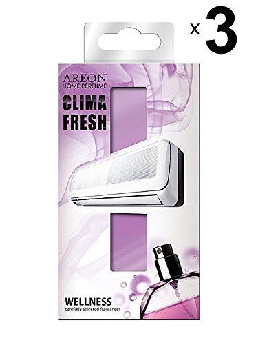AREON Clima Fresh Deodorante Ambiente Benessere Filtri Condizionatori Profumati Profumi Casa Carta Aroma Originali Viola (Wellness Set di 3)