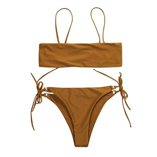 Bikini Set,Hevoiok Damen Bademode Neu Bandeau Sexy Elegant Low Waisted Straps Badeanzug Bottoms Bikinis For Mädchen Frauen (Braun, L)