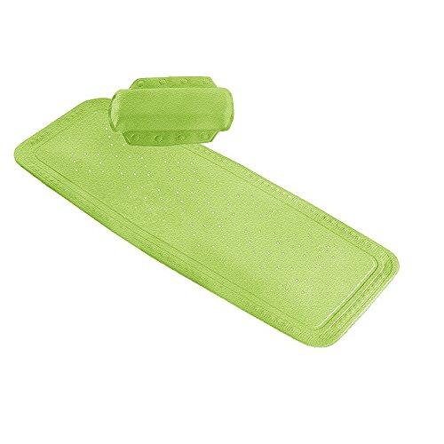 Kleine Wolke Set 2-TLG. Wanneneinlage und Nackenpolster, Wannenmatte, Sicherheitseinlage für die Badewanne Modell Arosa Farbe: Grün Grösse: 36 x 92cm / 32 x 22cm