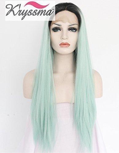kryssma-ombre-verde-parrucche-nere-parrucca-della-parte-anteriore-capelli-lisci-parrucche-sintetiche