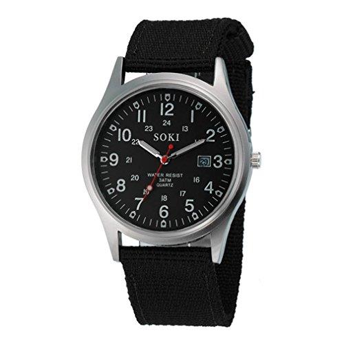 Malloom® Militar Hombres del Ejército Fecha lienzo Banda deporte del acero inoxidable cuarzo reloj de pulsera