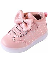 5b89569a3ddd99 QinMM Kinder Jungen Mädchen Bowknot Dot LED Leuchten Leucht Turnschuhe  Schuhe Klett Gummi Schuhe Weiß Schwarz