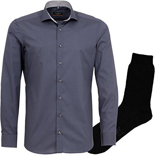 ETERNA Herrenhemd Slim Fit, grau, Uni Stretch + 1 Paar hochwertige Socken, Bundle Grau