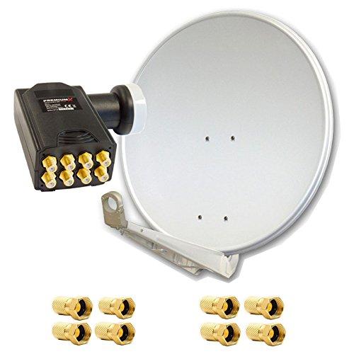 PremiumX DELUXE100 Satellitenantenne 100 cm Aluminium in Hellgrau Offset Antenne HDTV 3D 4KPremiumX DELUXE Octo LNB Sat