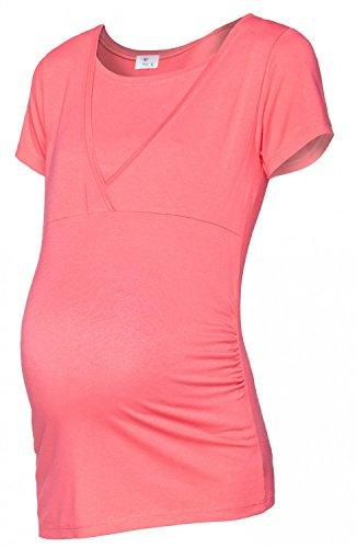 Happy Mama Femme. Top de maternité. T-shirt d'allaitement double épaisseur. 790p Corail