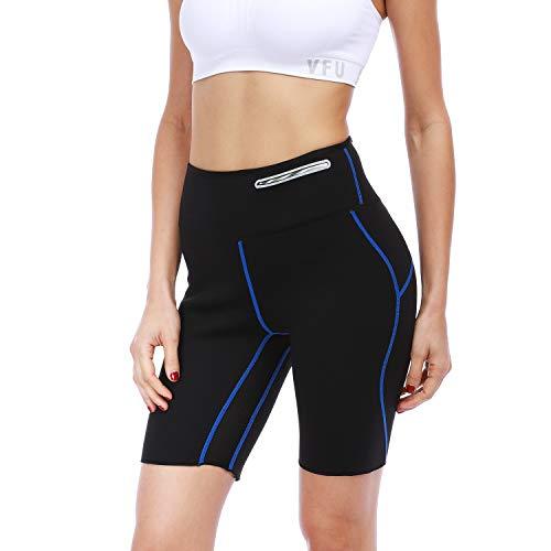 FitsT4 Damen Sauna-Shorts, Neopren, Gewichtsverlust, schlankere Schweiß-Thermohose mit Netz-Schritt und stilvoller versteckter Tasche, Damen, blau, XX-Large