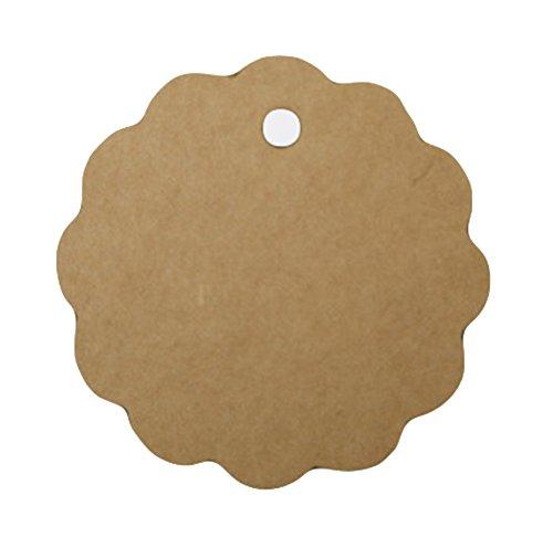 Etiketten Pflanze Leer (Cdet 100 Stück Tag Karte Kraftpapier Spitzenform leer Tag / Lesezeichen / Geschenkkarte / Schokolade Verpackungskarte / Drift Flaschenkarte Papieranhänger (Braun))