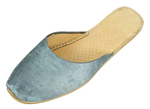 Womens Grey Casual Cow Hide Leather Indian Khussa Slippers 6uk