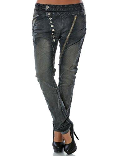 Damen Boyfriend Jeans Hose Reißverschluss Knopfleiste (weitere Farben) No 14145, Farbe:Anthrazit;Größe:40 / L