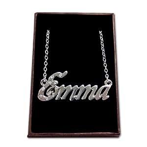 Collier Prénom Emma - Blanc plaqué or 18k Collier personnalisé. 40-48 Chaîne Belcher cm avec boîte-cadeau et un sac-cadeau. 2mm d'épaisseur nominale