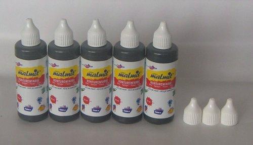 5er Set Window Color Konturfarbe und 3 Ersatz-Düsen / Konturenfarbe / Konturen schwarz - Qualität aus deutscher Produktion