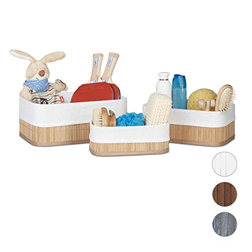Relaxdays Aufbewahrungskorb 3er Set, Stoffbezug, Bambus, rechteckig, Bad, Accessoires, Spielzeug, Allzweckkorb, Natur