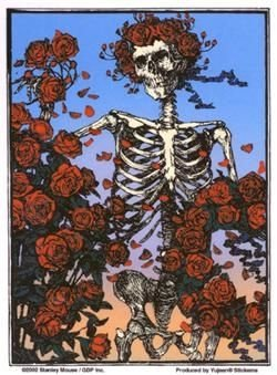"""Grateful Dead - Iconic Skeleton & Roses decalcomania Sticker - 4.5"""" x 6"""" - Weather Resistant, Long Lasting for Any Surface"""
