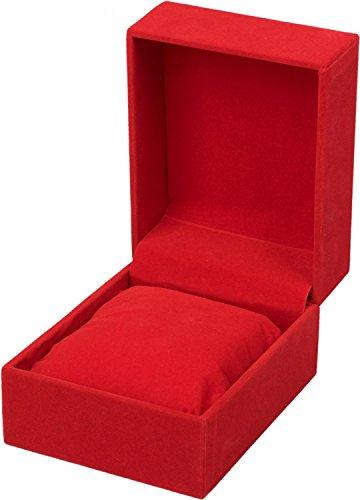 styleBREAKER Geschenkschachtel in Samt Optik für Schmuck, Ketten oder Armbänder zum aufklappen, Geschenkbox 05050025, Farbe:Rot Test