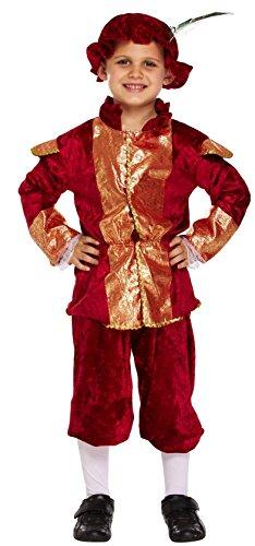 Kostüme Tudor Jungen (REICH TUDOR JUNGE FANCY-DRESS KOSTÜM MITTELALTERLICHE LEHRPLAN KOSTÜM S M L 4-11 JAHRE - Rot - Rot, Rot, M 7-9)
