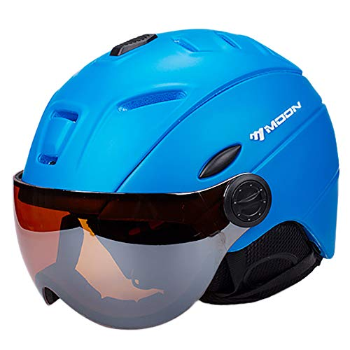 GHL Erwachsener Skifahren Helm Schutzhelm Mit Brille Männer und Frauen Schutz Snowboard Helm Schutzausrüstung,Blue