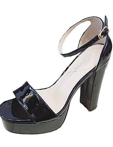 WSS 2016 Chaussures Femme-Décontracté-Noir / Rose / Rouge / Argent / Gris-Gros Talon-Talons-Chaussures à Talons-Cuir Verni pink-us5 / eu35 / uk3 / cn34