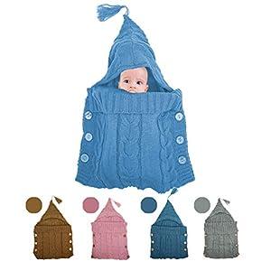 KiraKira Manta para recién Nacidos,Saco de Dormir de Punto Felpa, Saco de Dormir para bebés, Sacos de Dormir para niños de 0 a 12 Meses, Saco de Dormir para Cochecito 3