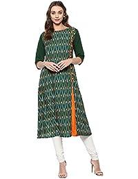 Janasya Women's Green Embellished Crepe A-Line Kurti