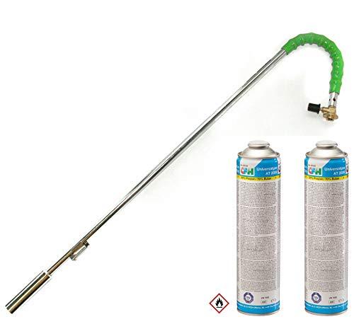 Grodenberg Bio Gas-Unkrautbrenner Abflammgerät Unkrauvernichter mit 2 Gaskartuschen