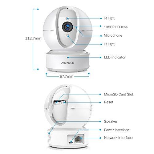 ANNKE Nova Orion 1080P IP Camera WiFi 1080P Videocamera di Sorveglianza Telecamera IP 1080P, Allarme Push con Snapshot, Ruotabile 360°, Audio Bidirezionale, Motion Detection, Visione Notturna, SD Carta (Dome Camera 2,4GHz)