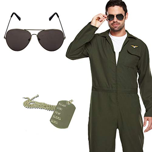 MENS AVIATOR PILOT 3 PIECE COSTUME + GLASSES + DOG TAG SET - 80S OUTFIT by PAPER UMBRELLA