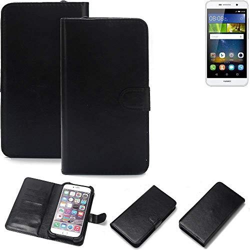 K-S-Trade® 360° Wallet Case Handyhülle Für Huawei Y6Pro LTE Schutz Hülle Smartphone Flip Cover Flipstyle Tasche Schutzhülle Flipcover Slim Bumper Schwarz, 1x