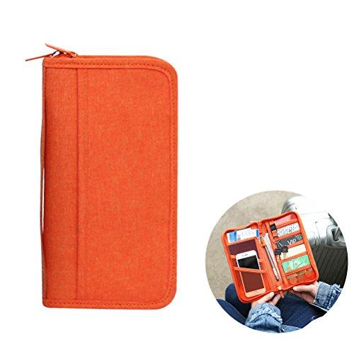 winomo Passport Holder Cover Fall Polyester RFID-blockierender Travel Wallet-Wallet Kreditkarte ID Card documents9.3* 12,4x 3cm (orange) (Travel Wallets Orange)