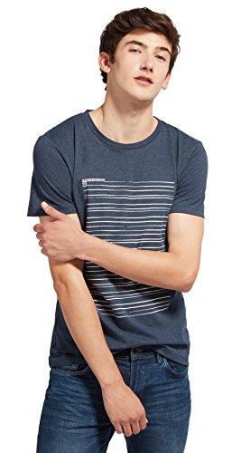 TOM TAILOR Denim für Männer T-Shirt T-Shirt mit Streifen-Print black iris blue