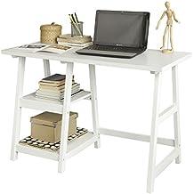 SoBuy® Mesa de escritorio, mesa de ordenador con 2 estantes, color blanco, FWT16-W, ES