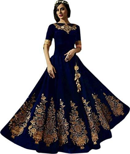 Drashti villa woman's Taffeta Silk Anarkali Gown (BLUE Kalash color_Free Size)