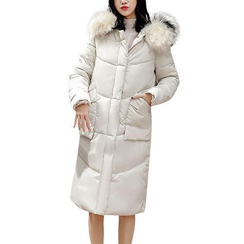 Ghemdilmn Damen Winterjacke Wintermantel Lange Daunenjacke Jacke Outwear Frauen Warm Daunenmantel Solide Tasche Reißverschluss Lässig Dicker Slim Down Jacke Mit Kapuze Mantel