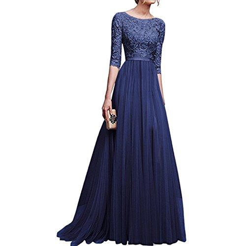 Damen Frauen Brautjungfernkleid Lang Abendkleider mit Spitze 2/3 Ärmel Brautkleid Partykleider Cocktailkleid Lang Empire Rock aus Chiffon Blau XL