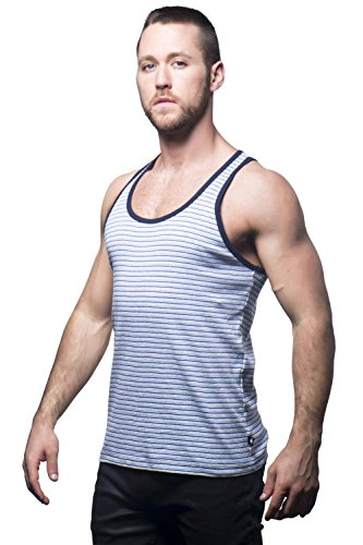 Andrew Christian 2581 Summer Tank Stripes Glau / Blau