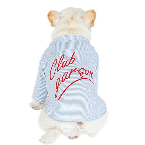PZSSXDZW Haustierhundekostüm Mode Gestreiftes gesticktes Hemd Gedruckte Streifen Bequeme Baumwolle,Blue,XL -