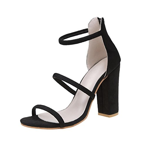 Fuibo Elegant Sandalette | Mode Frauen Damen Zip Sandalen Ankle High Heels Block Party Offene Spitze Schuhe (39, Schwarz) (Block-heel-schuhe)