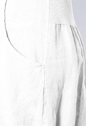 CASPAR Damen elegantes leichtes Sommerkleid aus Leinen mit Seidenkragen - viele Farben - SKL002 Weiß