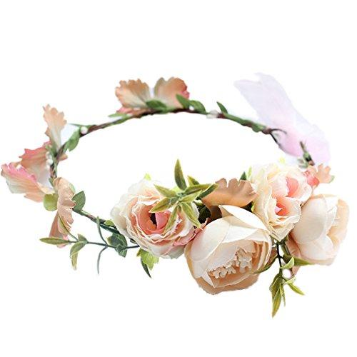 YAZILIND Rosen Blumen Kranz Brautjungfer Blumenkronen Girlande Brautstirnband für Hochzeitsfestivals