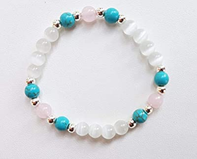 Bracelet fillette en perles naturelles,pierre de lune, turquoise et quartz rose