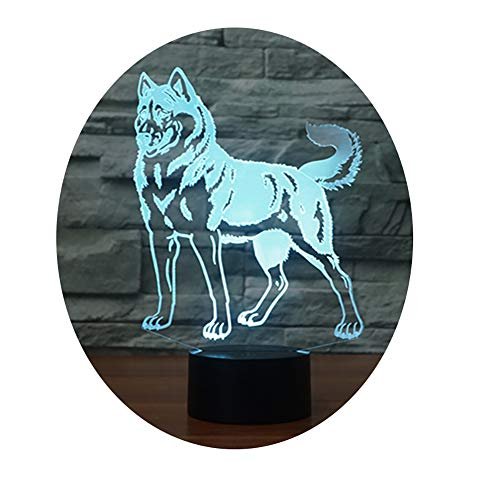 eNice 3D Optische Täuschung Haifisch USB Touch Taste LED Schreibtisch Tabellen Licht Lampe Tischleuchte (Schlittenhund)