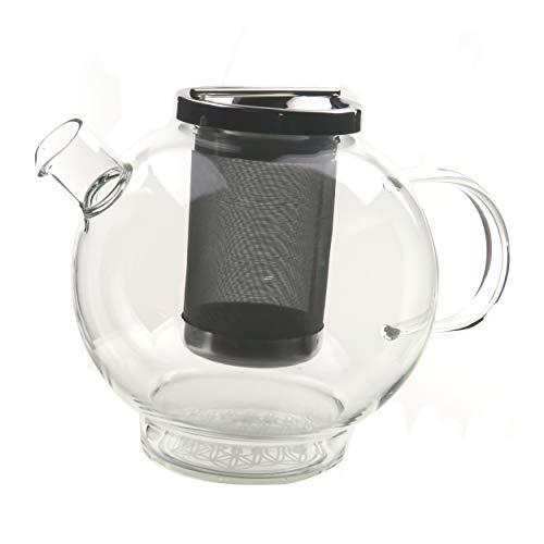 Glas Teekanne - Blume des Lebens - mattiert - 1,5 Liter